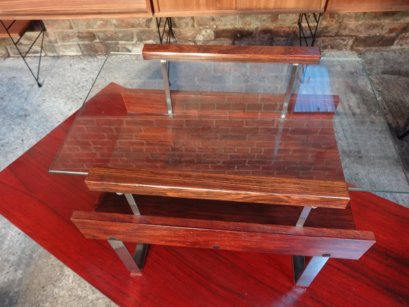 1960's Rosewood Chrome coffee table / magazine rack